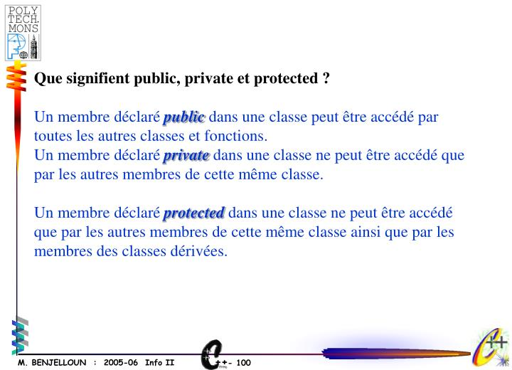 Que signifient public, private et protected ?
