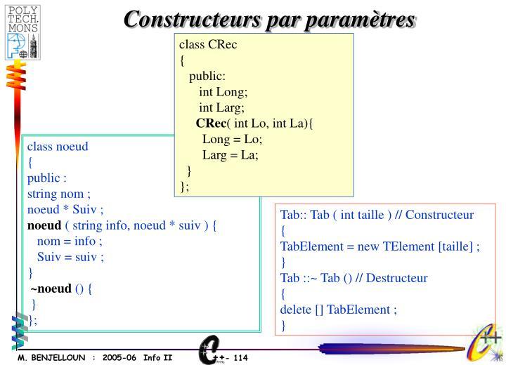 Constructeurs par paramètres