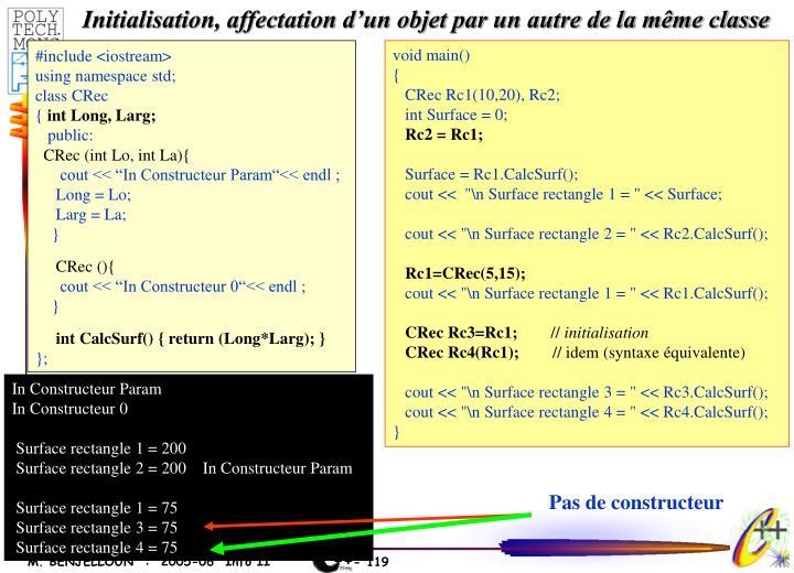 Initialisation, affectation d'un objet par un autre de la même classe