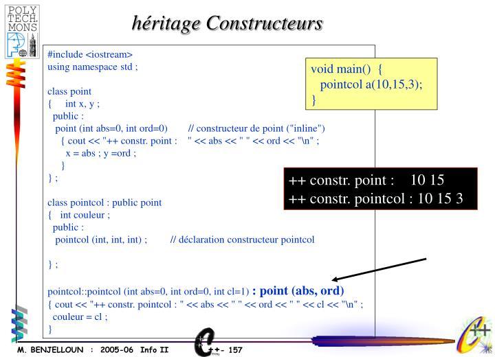 héritage Constructeurs