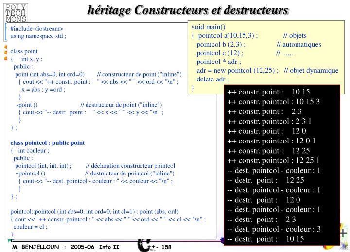 héritage Constructeurs et destructeurs