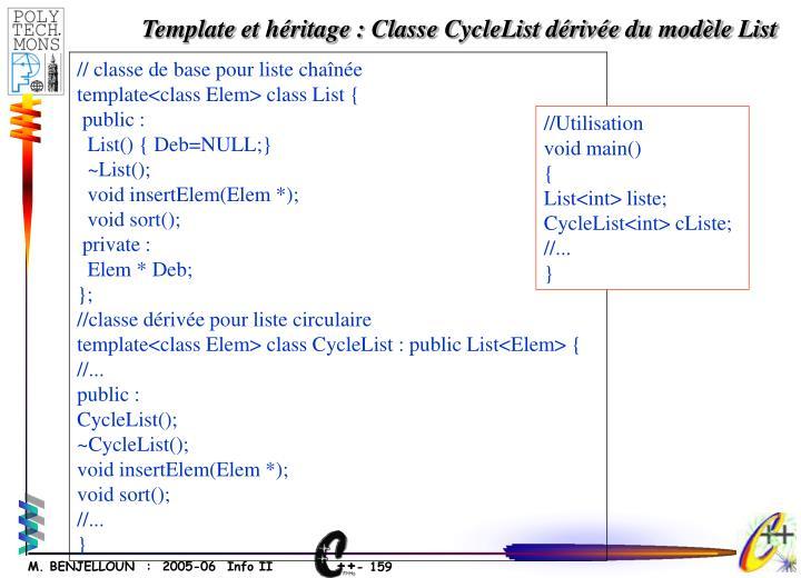 Template et héritage : Classe CycleList dérivée du modèle List