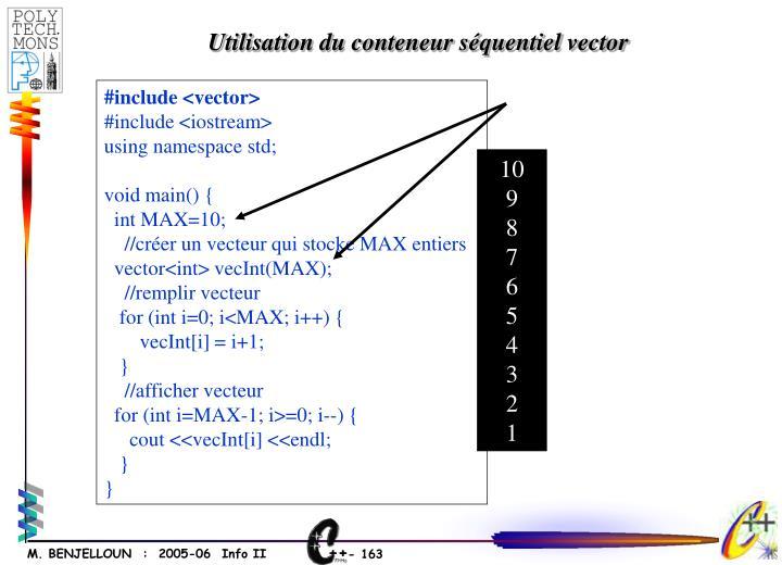 Utilisation du conteneur séquentiel vector