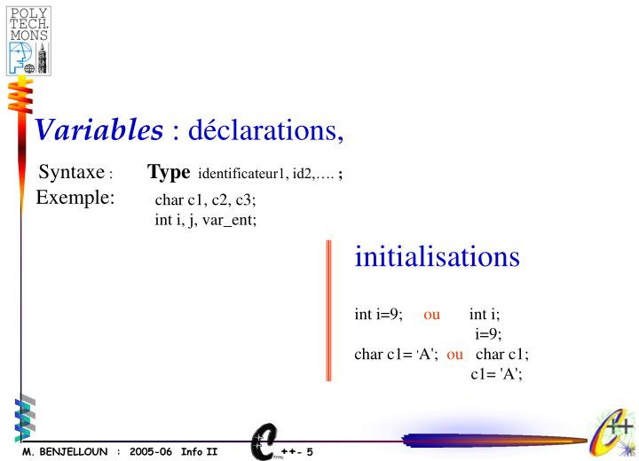 initialisations