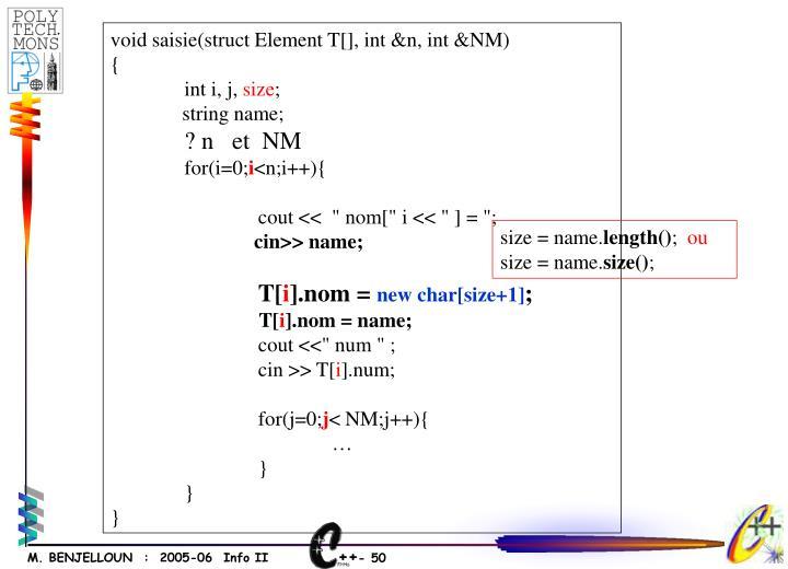 void saisie(struct Element T[], int