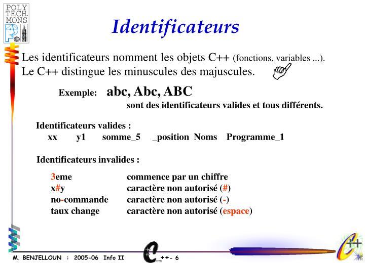 Identificateurs