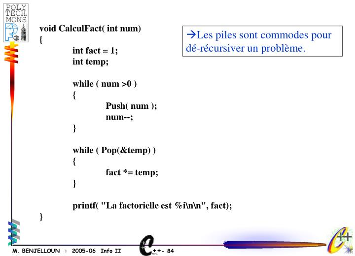 void CalculFact( int num)