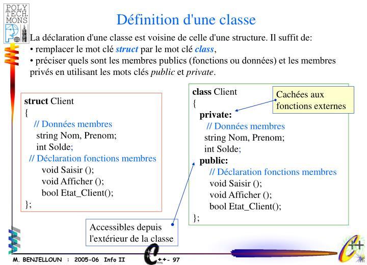 Définition d'une classe