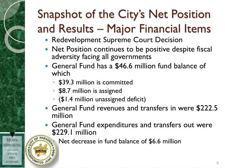 Snapshot of the City's Net Position and Results – Major Financial Items