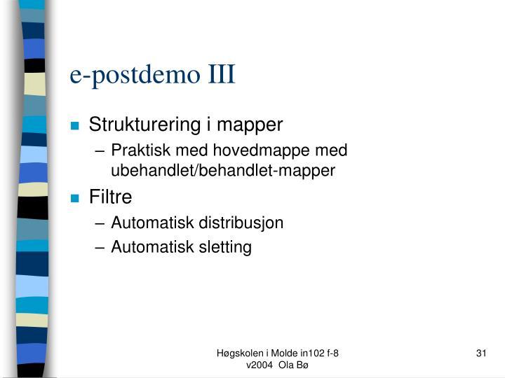 e-postdemo III