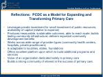 reflections pcdc as a model for expanding and transforming primary care