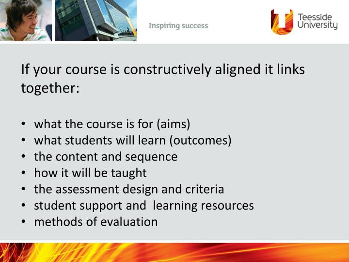 If your course is constructively aligned it links