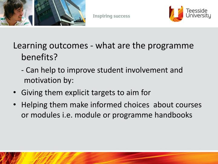Learning outcomes - what are the programme benefits?