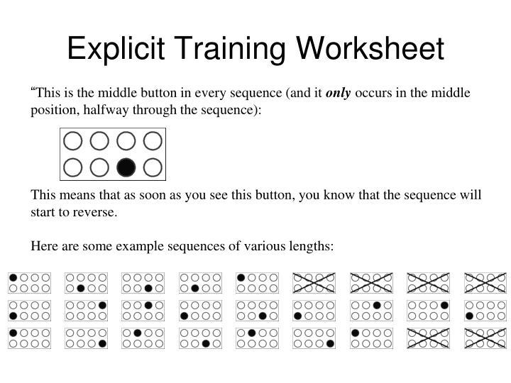 Explicit Training Worksheet