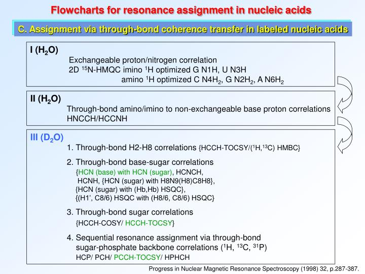 Flowcharts for resonance assignment in nucleic acids