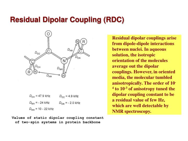 Residual dipolar couplings arise from dipole-dipole interactions between nuclei. In aqueous solution, the isotropic orientation of the molecules average out the dipolar couplings. However, in oriented media, the molecular tumbled anisotropically. The order of 10