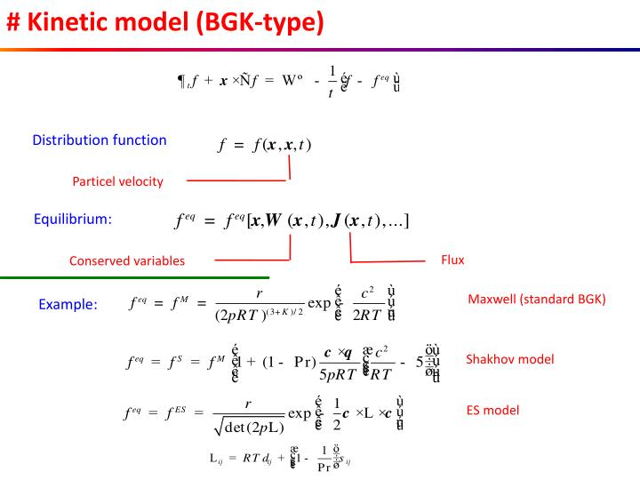 # Kinetic model (BGK-type)