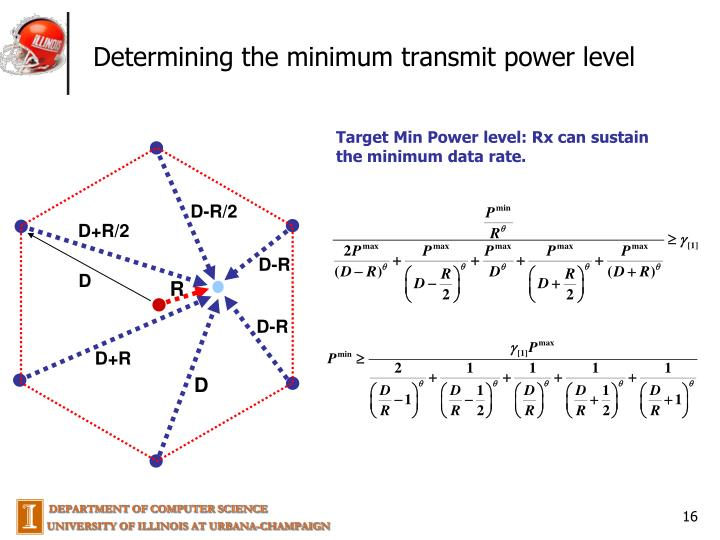 Determining the minimum transmit power level