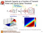 network capacity as a function of transmit power and carrier sense threshold
