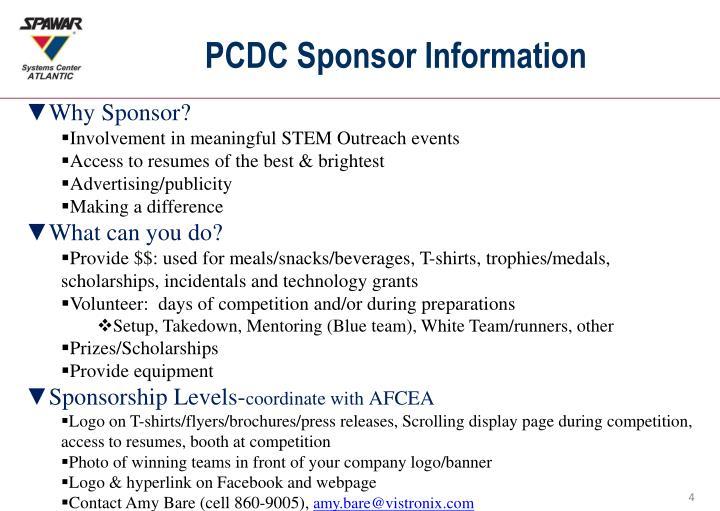 PCDC Sponsor Information