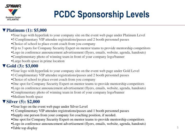 PCDC Sponsorship Levels