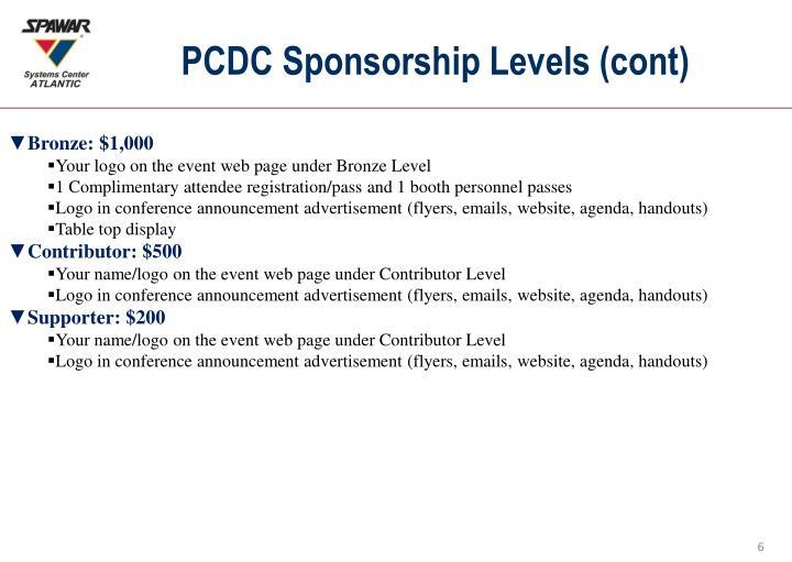 PCDC Sponsorship Levels (cont)