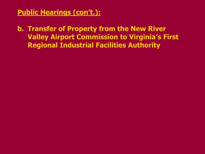 Public Hearings (con't.):