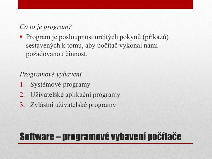 Co to je program?
