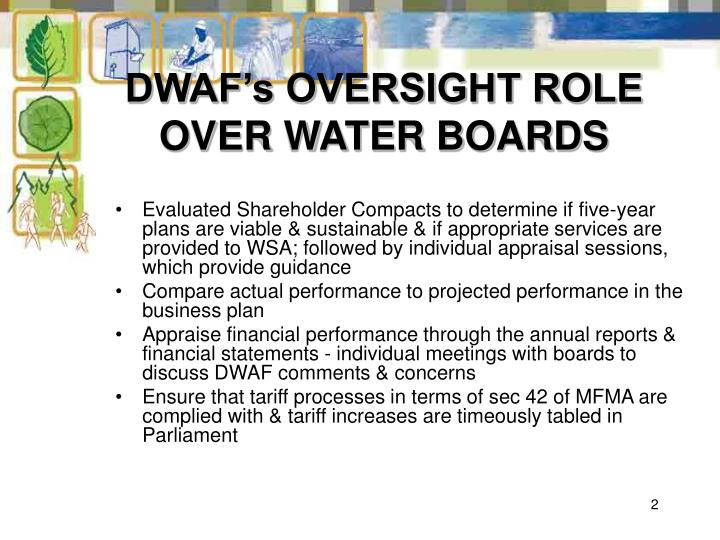 DWAF's OVERSIGHT ROLE OVER WATER BOARDS