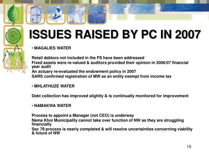 ISSUES RAISED BY PC IN 2007