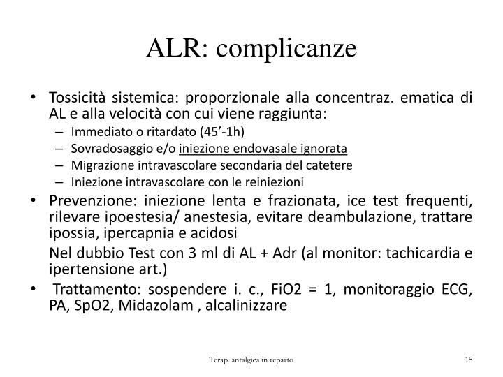 ALR: complicanze
