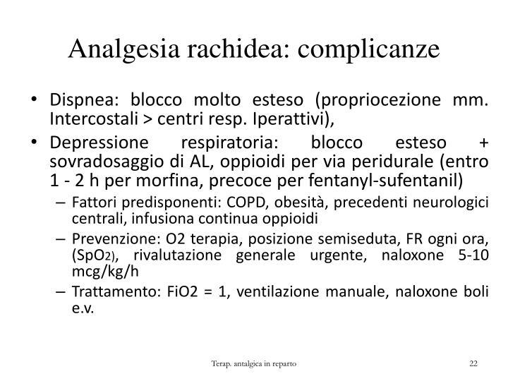 Analgesia rachidea: complicanze