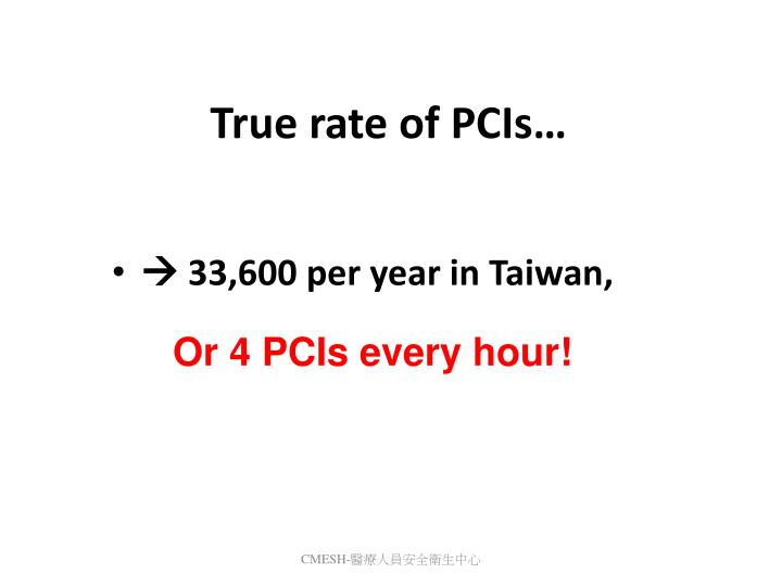 True rate of PCIs…
