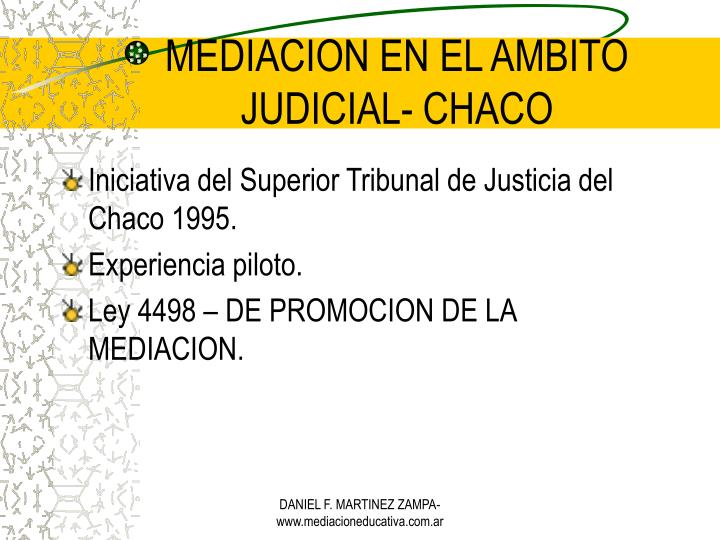 MEDIACION EN EL AMBITO JUDICIAL- CHACO