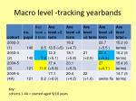 macro level tracking yearbands