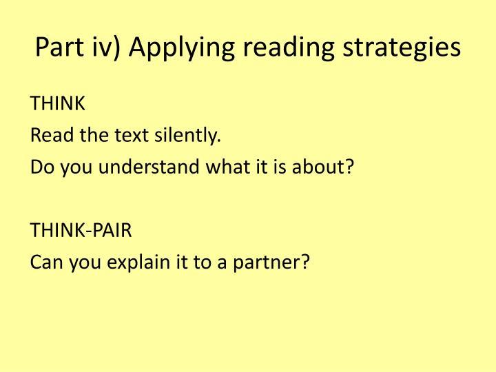 Part iv) Applying reading strategies