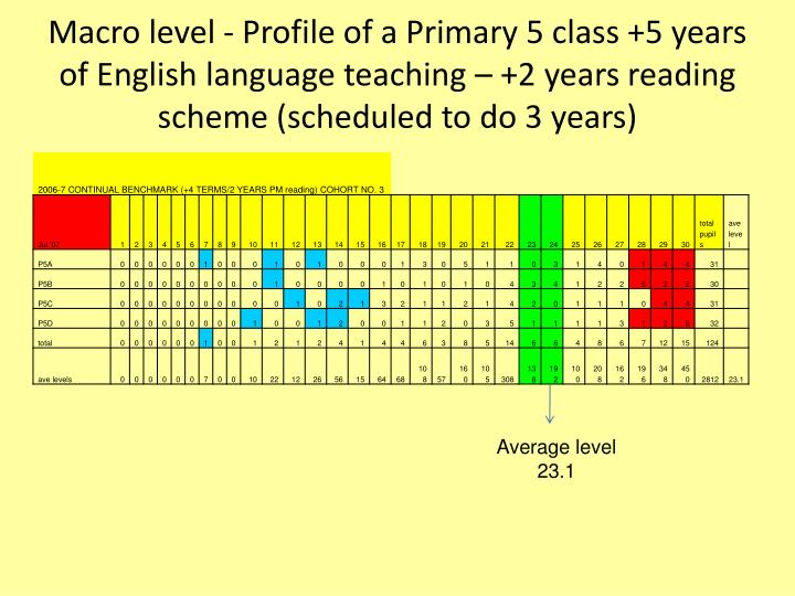 Macro level - Profile of a Primary 5 class +5 years of English language teaching – +2 years reading scheme (scheduled to do 3 years)