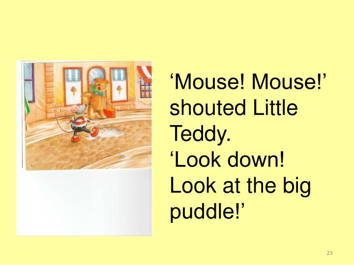 'Mouse! Mouse!' shouted Little Teddy.