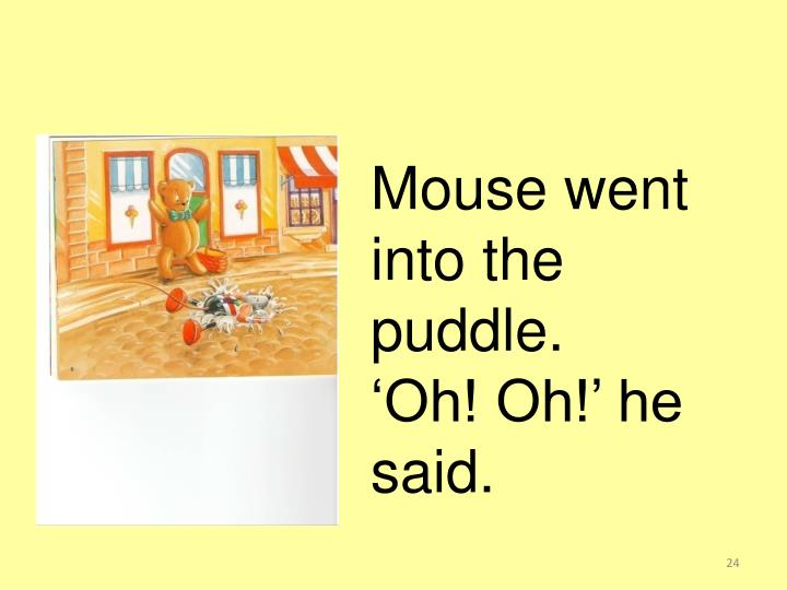 Mouse went into the puddle.