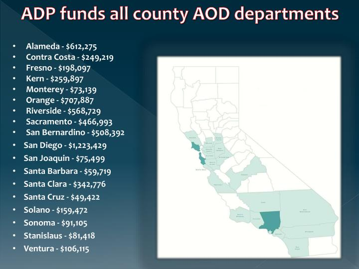 ADP funds all county AOD departments