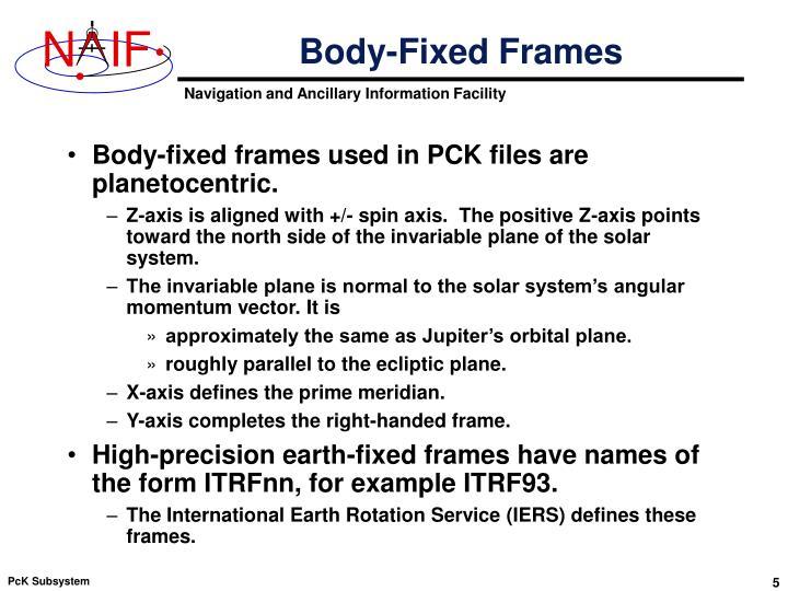 Body-Fixed Frames