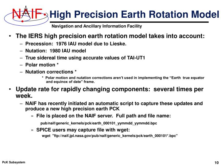 High Precision Earth Rotation Model
