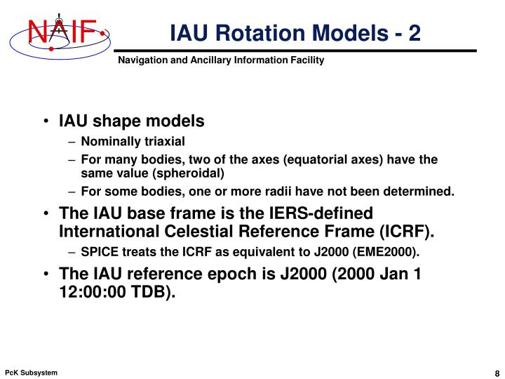 IAU Rotation Models - 2