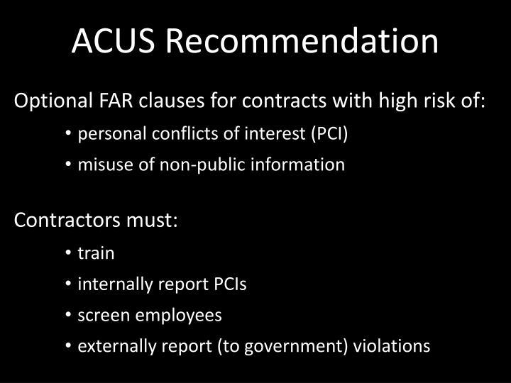 ACUS Recommendation