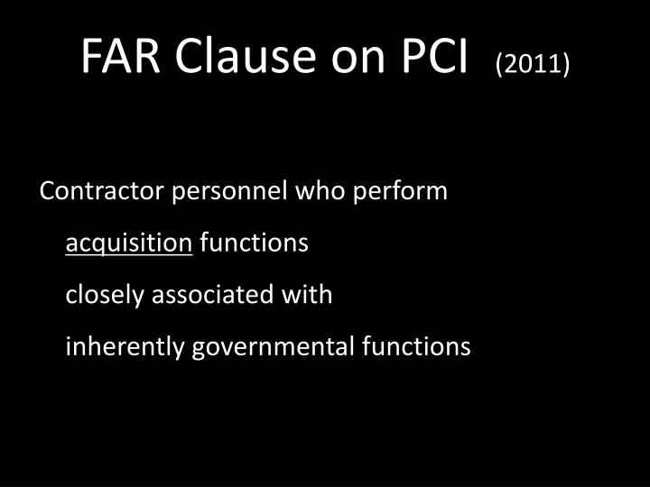 FAR Clause on PCI