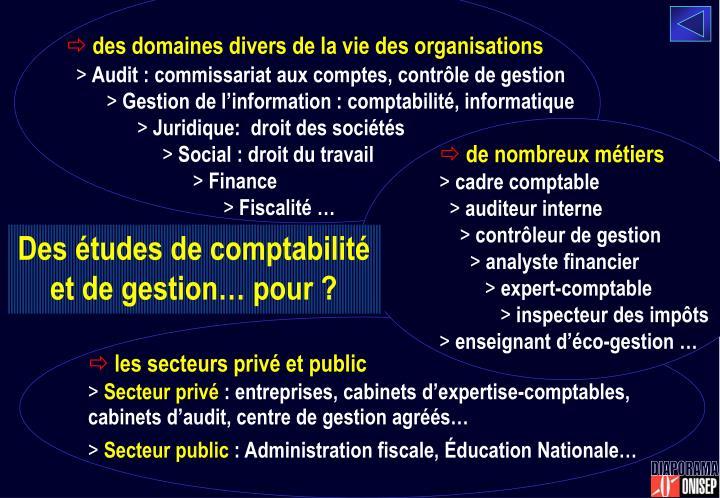 des domaines divers de la vie des organisations
