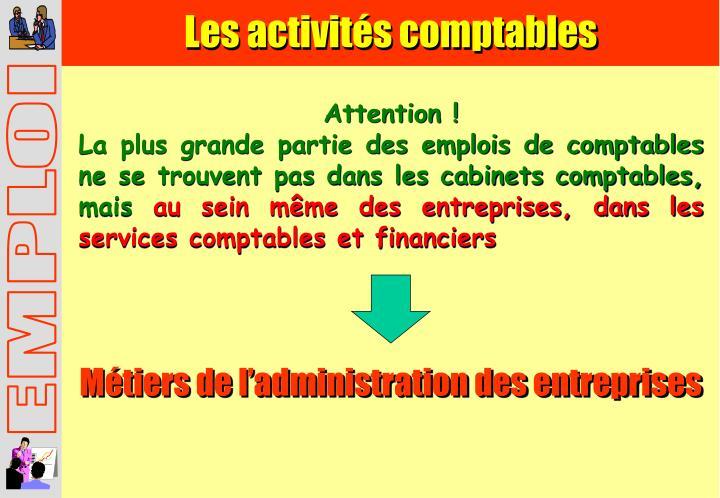 Les activités comptables