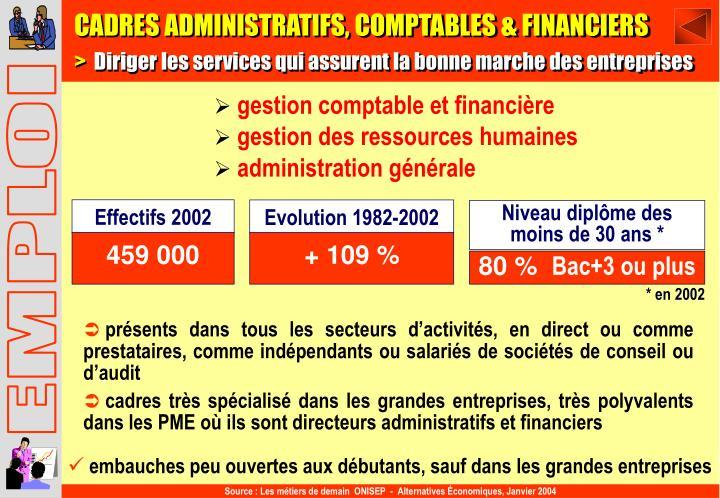 CADRES ADMINISTRATIFS, COMPTABLES & FINANCIERS