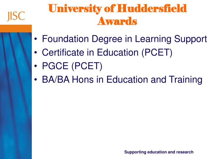 University of Huddersfield Awards