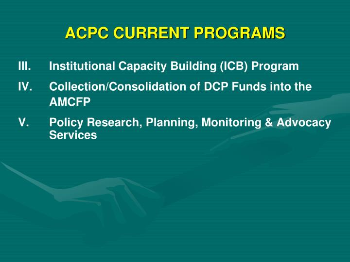 ACPC CURRENT PROGRAMS
